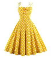 Summer Women Hepburn Abiti giallo Retro Cotton Robe Abiti vintage anni '50 anni '60 Rockabilly Pin Up Swing a pois
