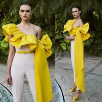 2021 새로운 도착 이브닝 드레스 여성 Jumpsuits 민소매 백리스 발목 길이 공식 드레스 새틴 활 루칭 댄스 파티 드레스