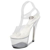 Caminando tacones muestren Stripper claras zapatos de las plataformas de la mujer tacones altos sandalias de las mujeres atractivas del gran patio zapatos de la boca de los pescados 2020 nuevos