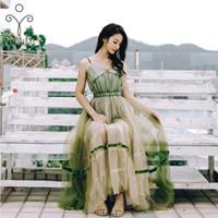 YOSIMI V yaka Kolsuz Seksi Kadınlar Elbise 2020 Yaz Maxi Yeşil Mesh Uzun Elbise Backless Tunik Bohemian Plaj vestidos