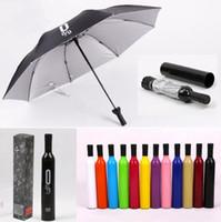 Bouteille de vin Parapluies pliable Creative pluie Voyage vitesse Publicité personnalisée Pare-soleil Uv Argent Colloid Kid Rainy Ensoleillé parapluie cadeau D6920