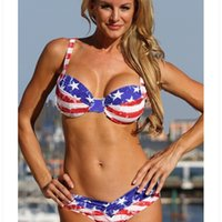 여성용 수영복 여성 아메리칸 플래그 비키니 인쇄 높은 허리 세트 푸시 업 브래지어 수영복 수영 플러스 사이즈 비치웨어