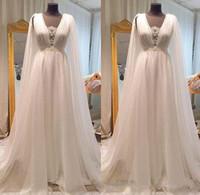 2021 Boho Beach Свадебные платья линия V шеи кружева шифон свадебные платья подвесного поезда греческие свадебные платья