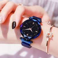 Luxe Femmes Étoile Ciel Mesh Magnétique Analogique Quartz Montre Dames Femme Imperméable À L'eau Lumious Casual Bracelet Robe Montre-Bracelet Horloge