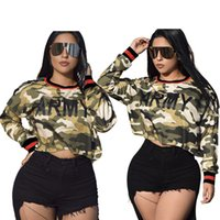 Women Fashion Camouflage Short Tops 2019 Round Neck Long Sle...