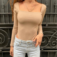 Autumn women' s new sexy slim basic square neck long sle...
