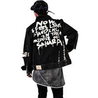 Sokak Giyim hip hop tarzı Kot Ceket Erkek Ceketler ve Coats Denim Ceket Erkek Delik Giyim Pamuk Jeans Ceket S-XL