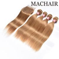 Miel Blonde Indien Hétéro Droite Bundles De Cheveux Avec Fermeture # 27 Vague De Corps 3 Bundles Avec Fermeture De Dentelle