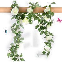 Rosas de seda flores artificiales vid con hojas verdes falso casa para la decoración de la boda colgantes DIY Garland