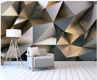 Fond d'écran pour murs 3 D pour salon Abstrait Golden Metal Stereo Fond 3D Mur de fond