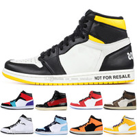Neu 1 High OG Travis Scotts Basketballschuhe Black Toe UNC 1s Top 3 Herren Bred Banned Royal Blue Sport Designer Turnschuhe Trainer