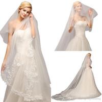 Foto real barato uma camada branca Catedral de marfim véu de casamento com pente lace tulle applique longa véu de noiva acessórios de casamento CPA886