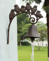 Cast Iron 6 Birds on Leaf Welcome Dinner Bell Wall Mounted H...