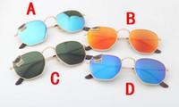 Yeni en kaliteli Altıgen Güneş Gözlüğü Erkek Kadın Vintage Altıgen güneş Gözlükleri uv400 yansıtıcı Lens Metal Sunglass 3548 Marka Steampunk Gözlük