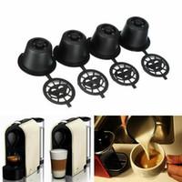 Hot 4x Recarregável Reutilizável Cápsulas De Café Vagens Para Máquinas De Café Nespresso Colher de Plástico + aço inoxidável Filtros de Café