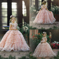 Cute Pink Flower Girl Dresses For Wedding Lace 3D Floral App...
