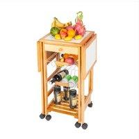 2022 Vertrieb Lagerhalter Racks Tragbare Rolltropfenblatt Kitchen Trolley Cart Island Sapele Farbe