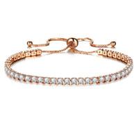 18K Rose Gold Plated Link Round Cut Sparkling Kristaller Stenar Armband för Kvinnor Smycken Pulseras Mujer Tillbehör