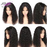 Parrucca Frontal 360 Lace Pre pizzico Con capelli del bambino 150% della densità Water Wave colore naturale brasiliana dei capelli umani parrucche per donne di colore