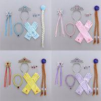 Crianças Tiara Hairband Set Luvas Crown Magic Wand Braid colares Anel Eardrop Define Gelo e Neve Headband Cabelo Acessórios GGA2890