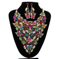 Granos africanos sistemas de la joyería para las mujeres accesorios de la boda nupcial de cristal colgante de collar llamativo pendiente de resina joya conjunto de joyas