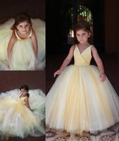 2019 Son Sevimli Sarı Çiçek Kız Doğum Günü Elbiseleri Balo Tül Çocuk Kız Örgün Pageant Elbiseler