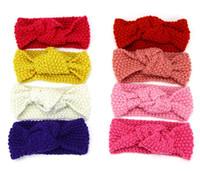 Bébé fille arc Bandeau solide Knit Turban Twist Head Wrap Noeud Twisted hiver doux cheveux Bandeaux bande H134