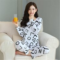 Women' s Cotton Pajamas Sets Long Sleeves Nightgown Stri...