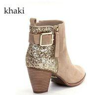 أحذية جديدة أحذية النساء كلاسيكي الترتر التوى حزام الكاحل خمر مارتن الجوارب أزياء مثير الشتاء حجم كبير مع صندوق