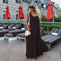 new Women Desinger Maxi Dress Spring Summer long skirts Soli...