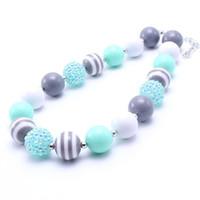 Più nuovo regalo Jewelry Design Menta Grigio capretto del bambino della collana robusta di moda per i più piccoli ragazze Bubblegum Bead collana robusta per i bambini