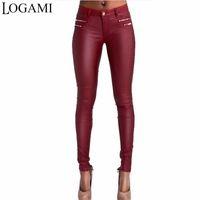 Logami Faux кожаные брюки женские худые низкая талия Slim PU кожаные брюки вино красный панталон EN CUIR Femmes