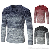 Мужские свитера Crew Neck с длинным рукавом руно мужские свитера осень Пуловер цвета контраста Mens конструктора Knit Мужской одежды