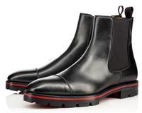 2018 Diseñador de lujo Hombre Botas de tobillo Red Inferior Botas de melón negro Calfskin Caucho Lug Sole Moda Moda Booty Famosa Fiesta Boda