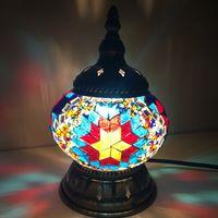Türkische Mosaik Lampen für Hochzeit Deco Schlafzimmer Wohnzimmer türkische Mosaik Tischlampen handgemachte Lampenschirm Glas Mosaik Lampe