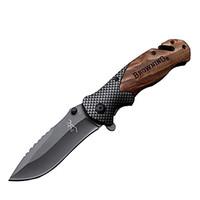 brunissement gros couteau pliant X50 bois tache couteau de poche poignée X50 X78 DA38 pliage offre couteau accepter la personnalisation