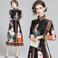 Luxuxweinlese-Knopf-Hemd-Kleid-Frauen Partei-Abschlussball Langarm Revers Ausschnitt Damen Runway Kleid beiläufige elegante Print Office Designer-Kleid