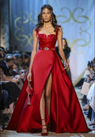 Elie Saab Haute Couture koyu Kırmızı Abiye Spagetti sapanlar Line Yan Bölünmüş Balo Elbise Örgün Parti Törenlerinde Özel Durum Elbise