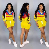 Mulheres Two Piece Outfits com capuz Imprimir dos ternos de manga curta Zipper Top Hot Pocket Pant Set Sports Rosa Verde Amarelo