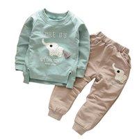 Autumn Children Cotton Clothing Suit Spring Baby Boys Girl Cartoon Elephant Sets Kids T-Shirt Pants 2 Pcs sets Toddler Tracksuit CY200516