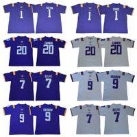 2020 LSU 호랑이 전설 20 빌리 대포 1 크리스티안 풀턴 1 JA'Marr Chase 9 Joe Burrow 7 Grant Delpit College Football Jerseys