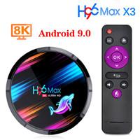 H96 Max X3 Android 9.0 Caixa de TV 4GB 64GB 32GB Amlogic S905x3 Quad Core WiFi 8K H96Max X3 TVBox Android9 Round Set Caixa superior com exibição digital