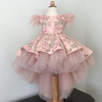 Abiti da Dusty rosa delle ragazze di fiore con il vestito floreale 3D merletto Appliqued Tulle su ordine Alto Basso Little Girl Comunione partito