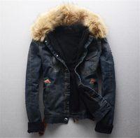 Azul lavada Mens del diseñador de moda abrigos para hombre collar abrigos de invierno de la chaqueta de la piel de imitación Jaens solo pecho
