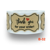 250pcs Thank You for Your Order Sticker Brown Kraft Paper St...