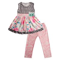 New Girls Clothing Set Kids Sleeveless Plaid Floral Printed ...