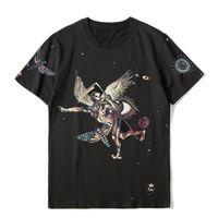 남성 스타일리스트 T 셔츠 프린트 라운드 넥 반소매 블랙 패션 남성 여성 고품질 여름 티
