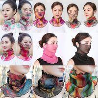 158 Styles Tüll Seidenschals Frauen Pareo Sarong Sunscreen Wraps Sommer-Blumengesichtsmaske Turban Strand Driving Schal Chiffon Neckchief M1746