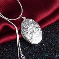 Kadınlar Hediye için Yılan Zincirli Vintage 925 Gümüş Yuvarlak madalyon Fotoğraf Locket kolye kolye Çerçeve Fotoğraf Süspansiyon
