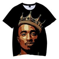 Estilo Makaveli camiseta para hombre verano Harajuku Camiseta Mujer / Hombre Tupac 2pac 3d camiseta del carácter de impresión Hip Hop Gráfico tes de las tapas